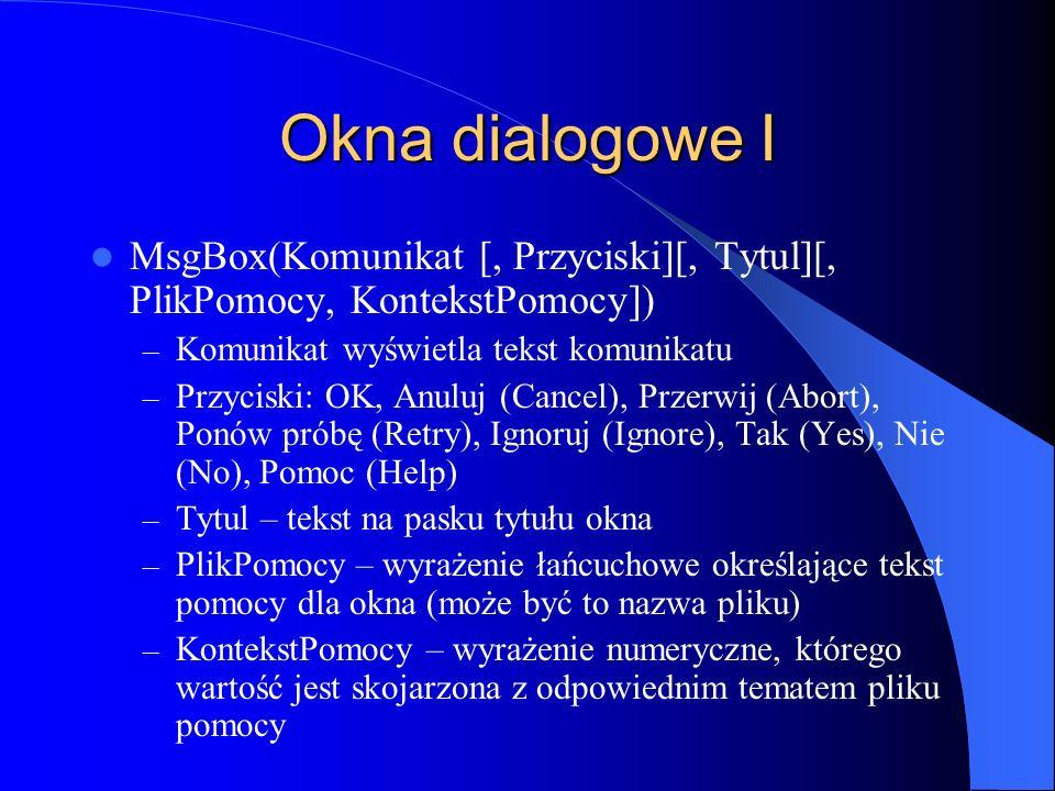 Okna dialogowe I MsgBox(Komunikat [, Przyciski][, Tytul][, PlikPomocy, KontekstPomocy]) Komunikat wyświetla tekst komunikatu.